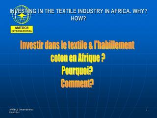 INVESTING IN THE TEXTILE INDUSTRY IN AFRICA. WHY? HOW?
