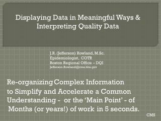 Displaying Data in Meaningful Ways & Interpreting Quality Data