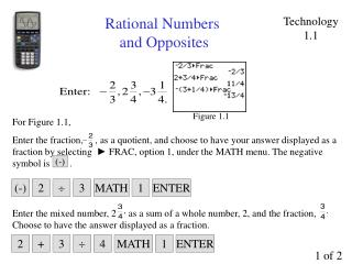Rational Numbers  and Opposites