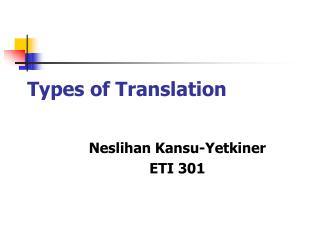 Types of Translation