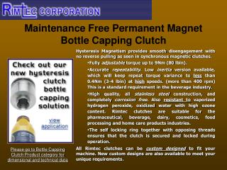 Maintenance Free Permanent Magnet Bottle Capping Clutch