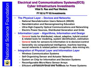 Electrical and Communications Systems(ECS) Cyber Infrastructure Investments