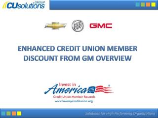 Enhanced Credit union Member Discount from GM Overview