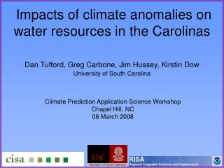 Impacts of climate anomalies on water resources in the Carolinas