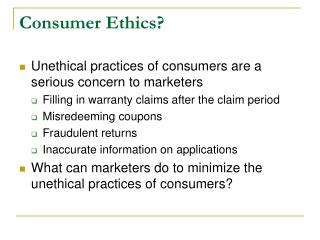 Consumer Ethics?