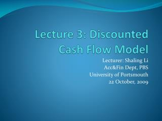 Lecture 3: Discounted Cash Flow Model