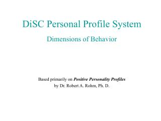 DiSC Personal Profile System