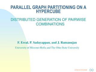PARALLEL GRAPH PARTITIONING ON A HYPERCUBE