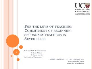 For the love of teaching: Commitment of beginning secondary teachers in Seychelles