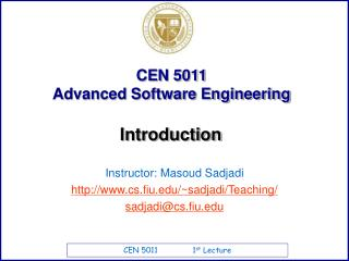 CEN 5011  Advanced Software Engineering