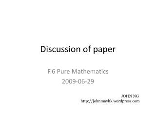 Discussion of paper
