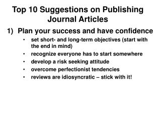 Top 10 Suggestions on Publishing Journal Articles
