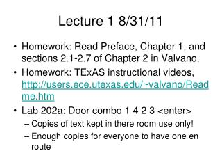 Lecture 1 8/31/11