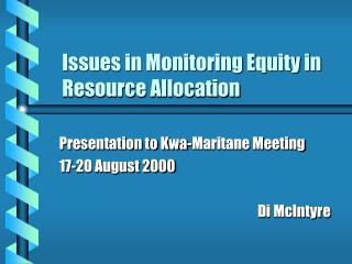 Issues in Monitoring Equity in Resource Allocation