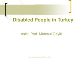 Disabled People in Turkey