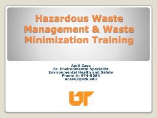 Hazardous Waste Management & Waste Minimization Training