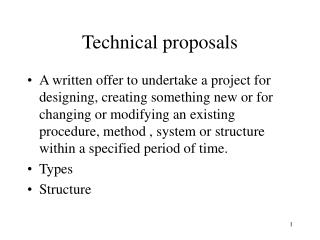 Technical proposals
