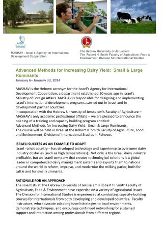 Advanced Methods for Increasing Dairy Yield:  Small & Large Ruminants January 6– January 30, 2014