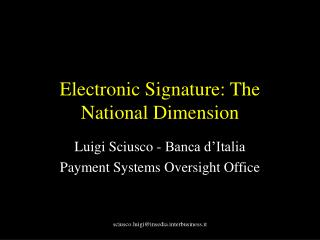 Electronic Signature: The National Dimension