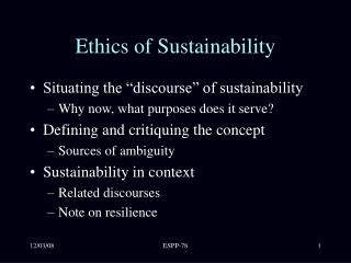 Ethics of Sustainability