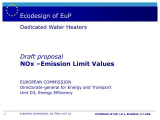 Boiler - & WH  labelling and European directive EuP