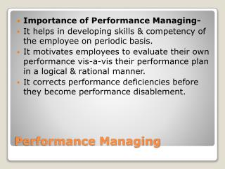 Performance Managing