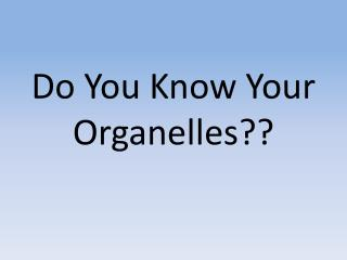 Do You Know Your Organelles??
