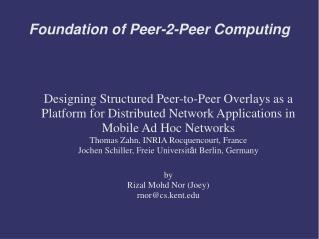 Foundation of Peer-2-Peer Computing