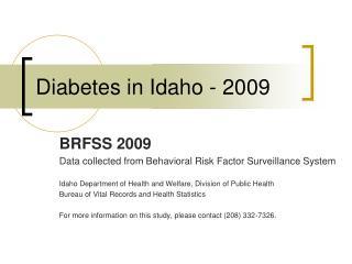 Diabetes in Idaho - 2009