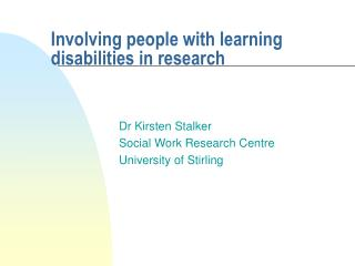 Involving people with learning disabilities in research