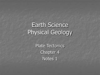Earth Science Physical Geology