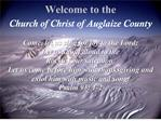 Welcome to the  Church of Christ of Auglaize County