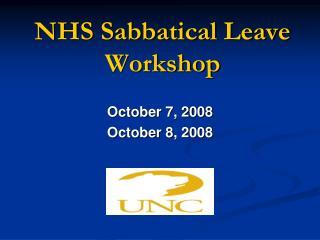 NHS Sabbatical Leave Workshop