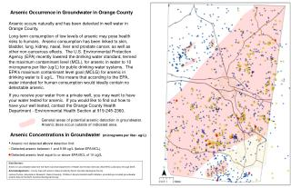 Arsenic Occurrence in Groundwater in Orange County