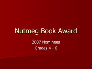 Nutmeg Book Award