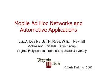 Mobile Ad Hoc Networks and Automotive Applications