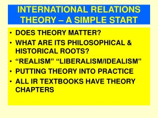 INTERNATIONAL RELATIONS THEORY – A SIMPLE START