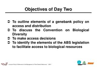 Objectives of Day Two