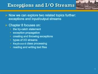 Exceptions and I/O Streams