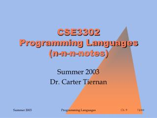 CSE3302 Programming Languages (n-n-n-notes)
