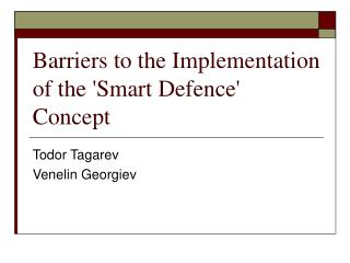Barriers to the Implementation of the 'Smart Defence' Concept