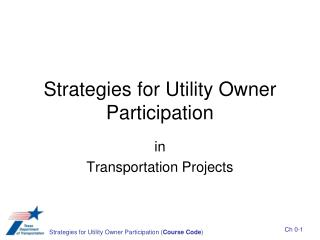 Strategies for Utility Owner Participation