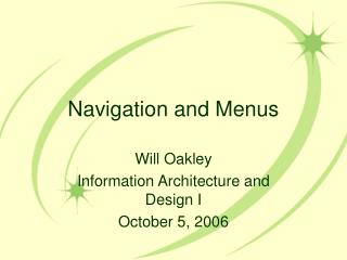 Navigation and Menus