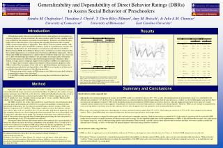 Generalizability and Dependability of Direct Behavior Ratings (DBRs)