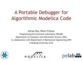 A Portable Debugger for  Algorithmic Modelica Code