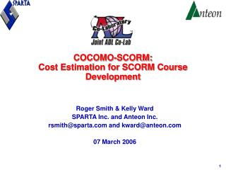 COCOMO-SCORM:  Cost Estimation for SCORM Course Development