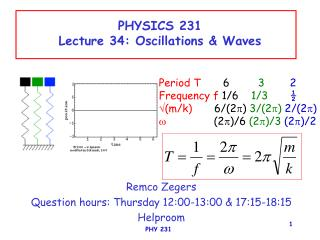 PHYSICS 231 Lecture 34: Oscillations & Waves