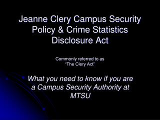 What you need to know if you are a Campus Security Authority at MTSU