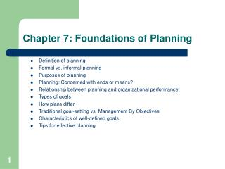 Chapter 7: Foundations of Planning