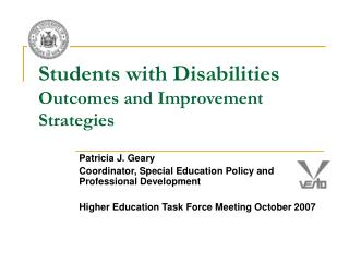Students with Disabilities Outcomes and Improvement Strategies
